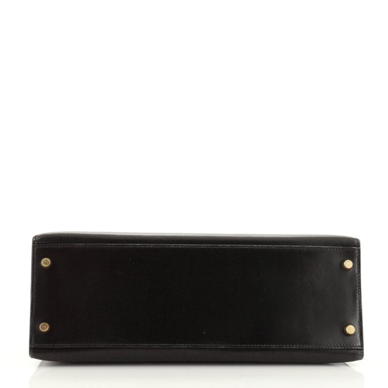 Hermes Kelly Handbag Noir Box Calf with Gold Hardware 32 For Sale 1
