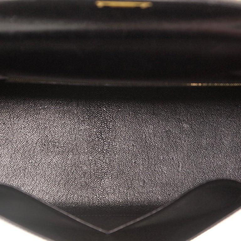Hermes Kelly Handbag Noir Box Calf with Gold Hardware 32 For Sale 2