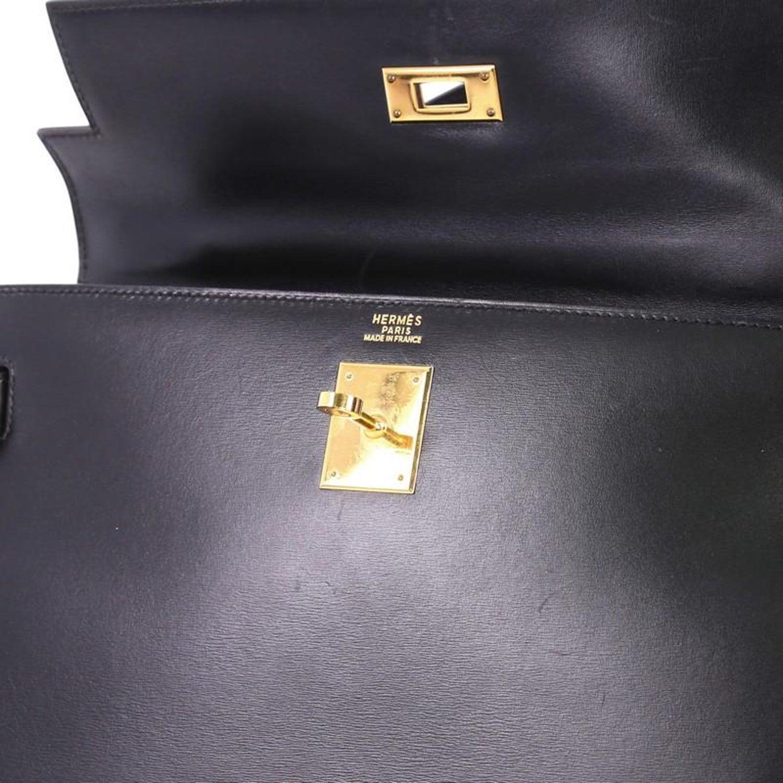 b3d45d5f71 Hermes Kelly Handbag Noir Box Calf with Gold Hardware 32 at 1stdibs