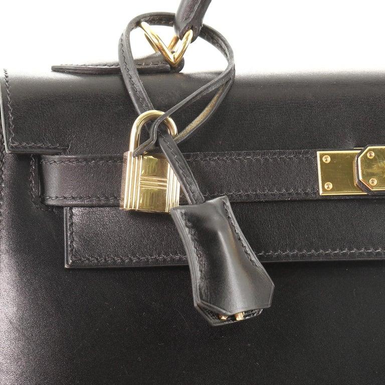 Hermes Kelly Handbag Noir Box Calf with Gold Hardware 32 For Sale 4