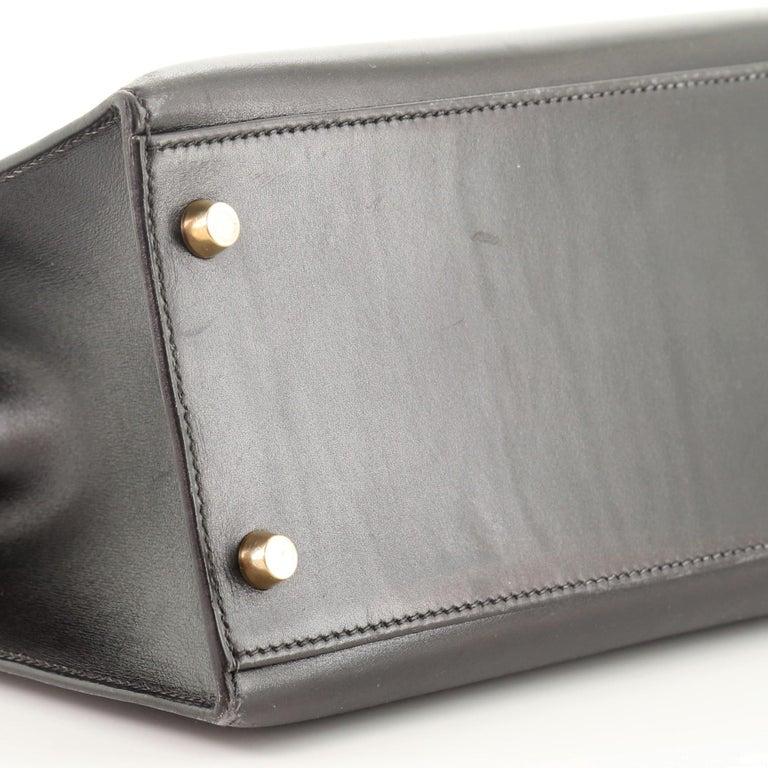 Hermes Kelly Handbag Noir Box Calf with Gold Hardware 32 For Sale 5