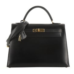 Hermes Kelly Handbag Noir Box Calf With Gold Hardware 32