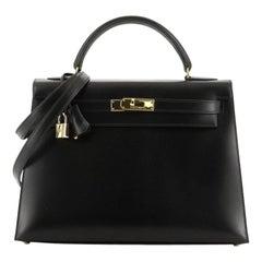 Hermes Kelly Handbag Noir Box Calf With Gold Hardware 32