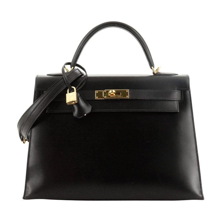 Hermes Kelly Handbag Noir Box Calf with Gold Hardware 32 For Sale
