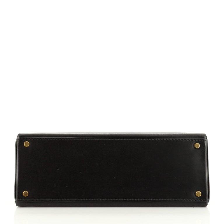 Women's or Men's Hermes Kelly Handbag Noir Box Calf with Gold Hardware 35 For Sale