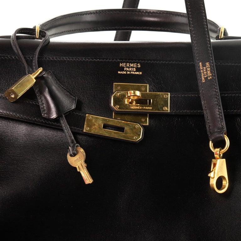 Hermes Kelly Handbag Noir Box Calf with Gold Hardware 35 For Sale 2