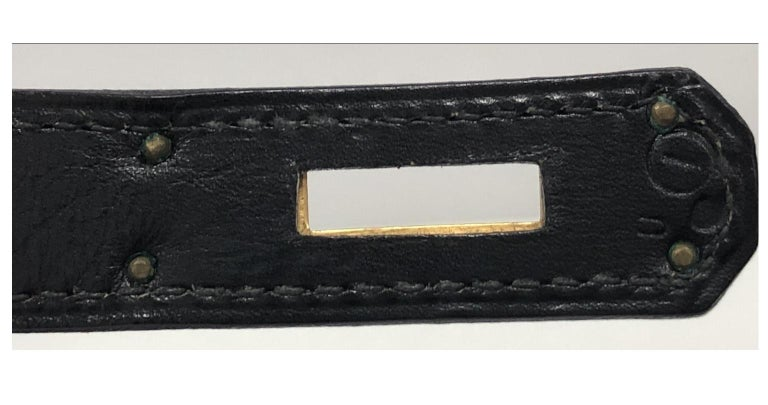 Hermes Kelly Handbag Noir Box Calf with Gold Hardware 35 For Sale 3