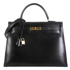 Hermes Kelly Handbag Noir Box Calf with Gold Hardware 35