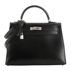 Hermes Kelly Handbag Noir Box Calf With Guilloche Palladium Hardware 32