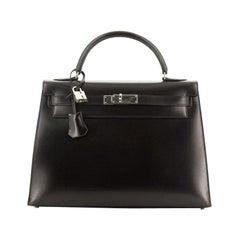 Hermes  Kelly Handbag Noir Box Calf with Palladium Hardware 32