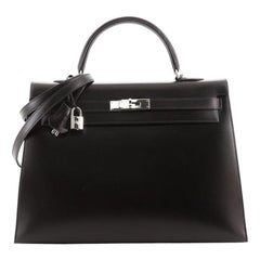 Hermes Kelly Handbag Noir Box Calf with Palladium Hardware 35