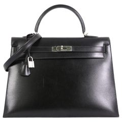 Hermes Kelly Handbag Noir Box Calf With Palladium Hardware 35