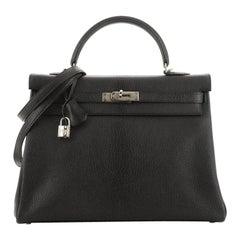 Hermes Kelly Handbag Noir Chevre De Coromandel With Palladium Hardware 35