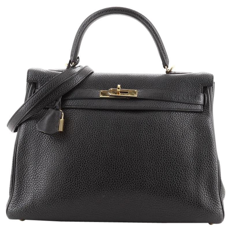 Hermes Kelly Handbag Noir Clemence with Gold Hardware 35