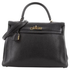 Hermes Kelly Handbag Noir Clemence with Gold Hardware 35