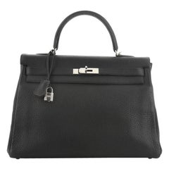 Hermes Kelly Handbag Noir Clemence With Palladium Hardware 35