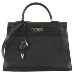Hermes Kelly Handbag Noir Epsom with Palladium Hardware 35