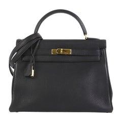 Hermes Kelly Handbag Noir Togo With Gold Hardware 32