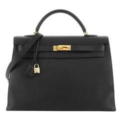 Hermes Kelly Handbag Noir Togo with Gold Hardware 40