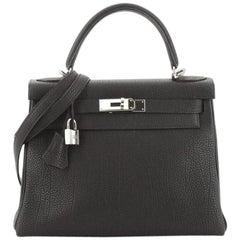 Hermes Kelly Handbag Noir Togo with Palladium Hardware 28