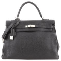 Hermes Kelly Handbag Noir Togo with Palladium Hardware 35