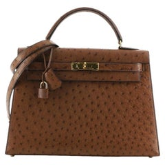Hermes Kelly Handbag Noisette Ostrich with Gold Hardware 32