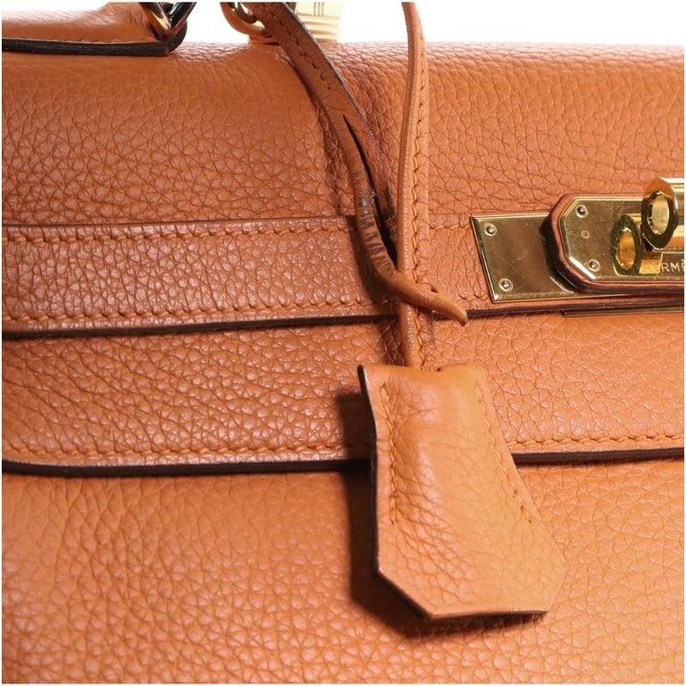 Hermes Kelly Handbag Orange H Clemence with Gold Hardware 32 For Sale 6