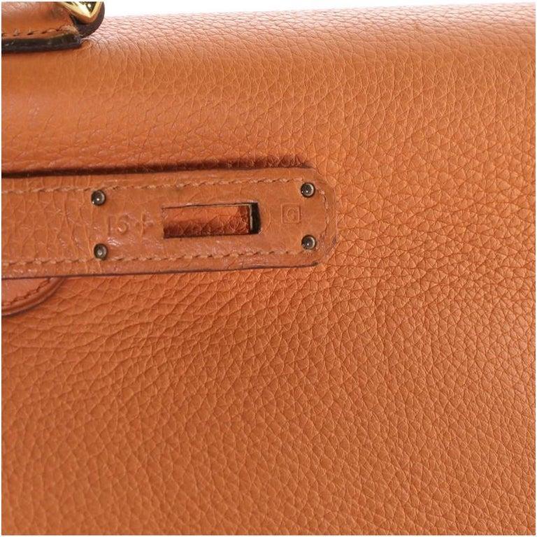 Hermes Kelly Handbag Orange H Clemence with Gold Hardware 32 For Sale 7