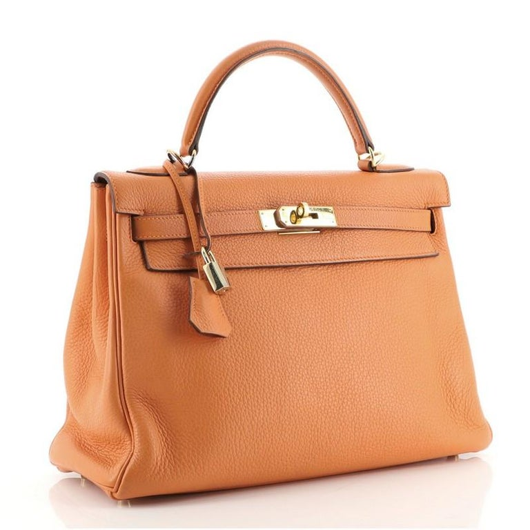 Hermes Kelly Handbag Orange H Clemence with Gold Hardware 32 In Good Condition For Sale In New York, NY