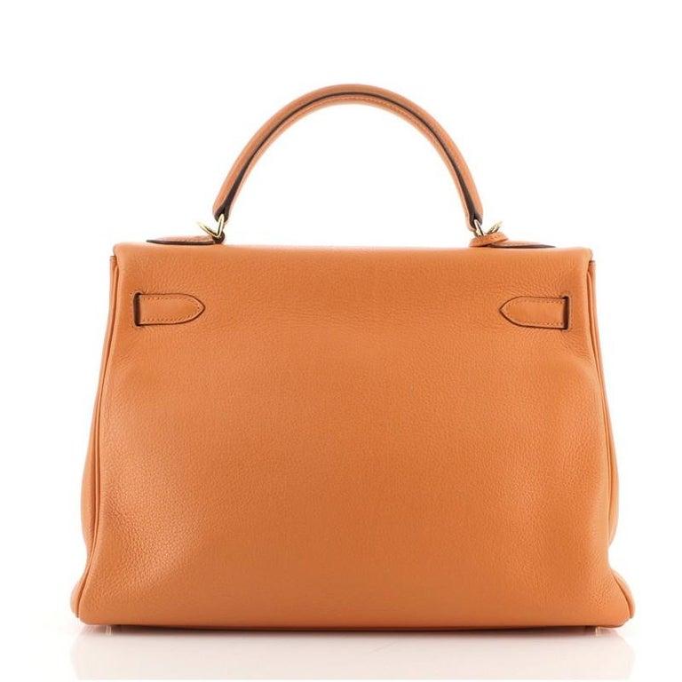 Women's or Men's Hermes Kelly Handbag Orange H Clemence with Gold Hardware 32 For Sale