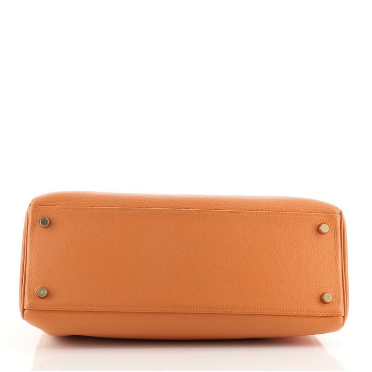 Hermes Kelly Handbag Orange H Clemence with Gold Hardware 32 For Sale 1