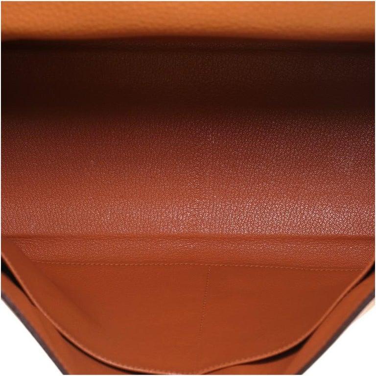 Hermes Kelly Handbag Orange H Clemence with Gold Hardware 32 For Sale 2