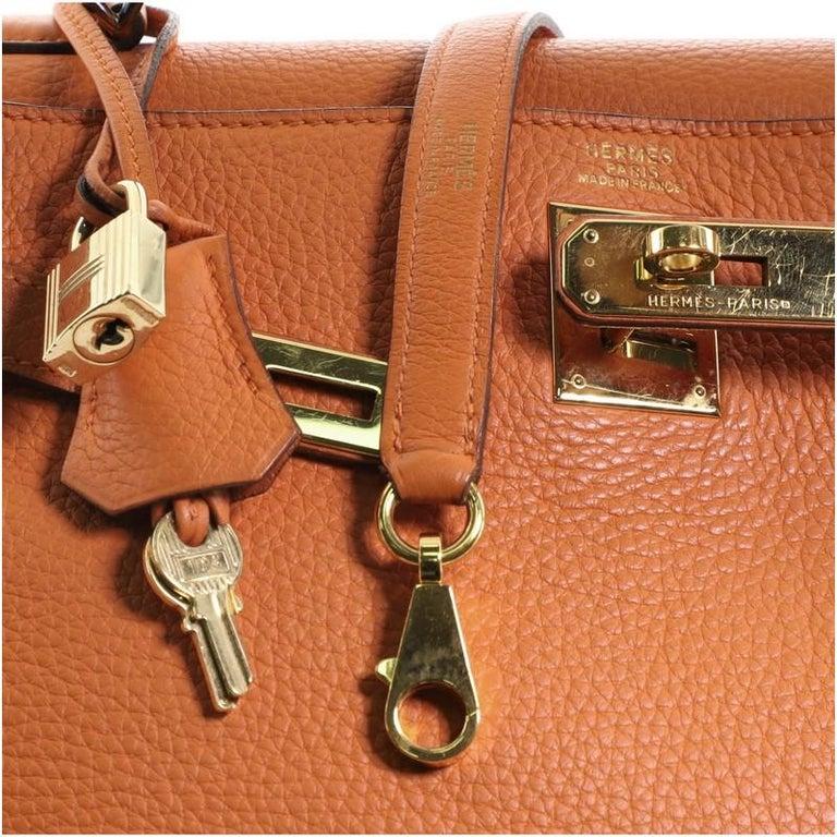 Hermes Kelly Handbag Orange H Clemence with Gold Hardware 32 For Sale 3