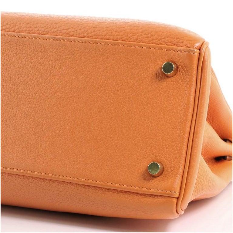Hermes Kelly Handbag Orange H Clemence with Gold Hardware 32 For Sale 4