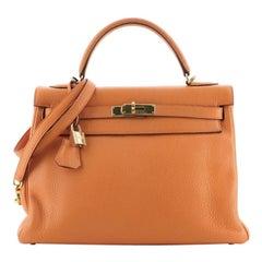 Hermes Kelly Handbag Orange H Clemence with Gold Hardware 32