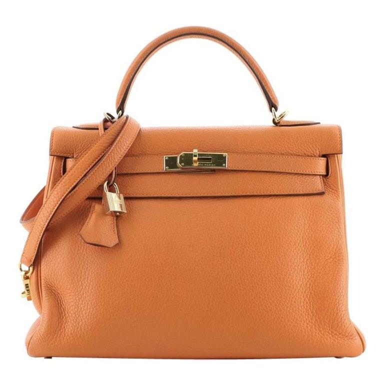 Hermes Kelly Handbag Orange H Clemence with Gold Hardware 32 For Sale
