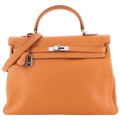 Hermes Kelly Handbag Orange H Clemence With Palladium Hardware 35