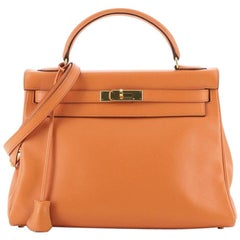 Hermes Kelly Handbag Orange H Gulliver with Gold Hardware 32