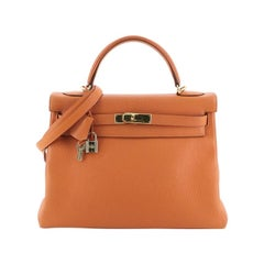 Hermes  Kelly Handbag Orange H Togo with Gold Hardware 32