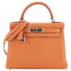 Hermes Kelly Handbag Orange H Togo with Palladium Hardware 28