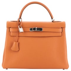 Hermes Kelly Handbag Orange H Togo with Palladium Hardware 32