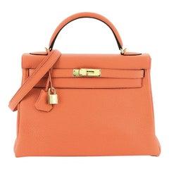 Hermes Kelly Handbag Orange Poppy Clemence with Gold Hardware 32