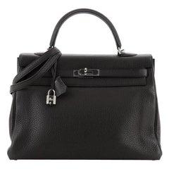 Hermes Kelly Handbag Plomb Clemence with Palladium Hardware 35