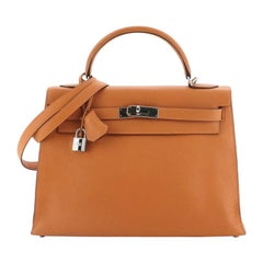 Hermes Kelly Handbag Potiron Togo With Palladium Hardware 32