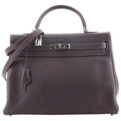 Hermes Kelly Handbag Raisin Clemence with Palladium Hardware 35