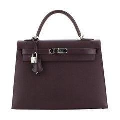 Hermes Kelly Handbag Raisin Epsom with Palladium Hardware 32