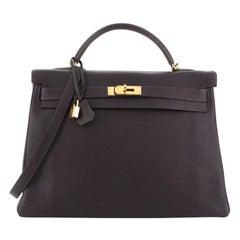 Hermes Kelly Handbag Raisin Togo with Gold Hardware 40