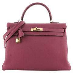 Hermes Kelly Handbag Red Togo with Gold Hardware 35