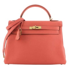 Hermes Kelly Handbag Rose Jaipur Clemence with Gold Hardware 32