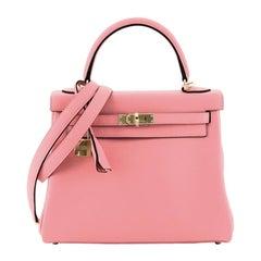 Hermes Kelly Handbag Rose Lipstick Swift with Gold Hardware 25